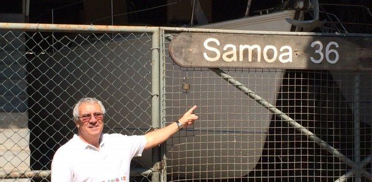 Manolo em frente ao estaleiro Sabadear (Fonte: próprio autor)